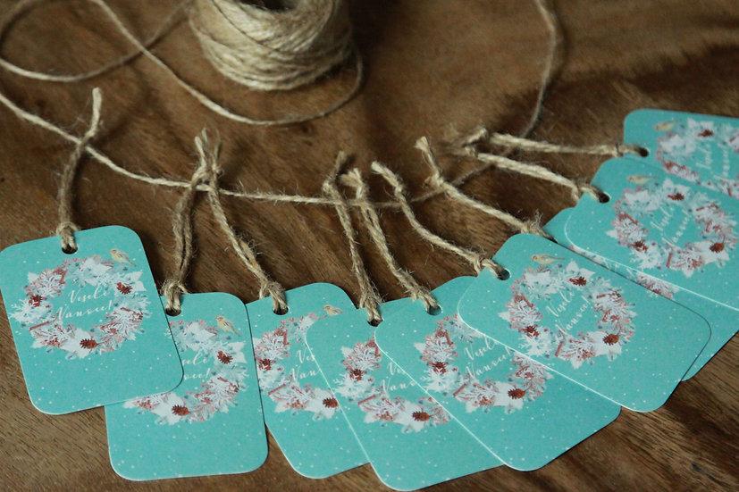 Cedulky (5 ks) na dárky Adventní skořice,v modré