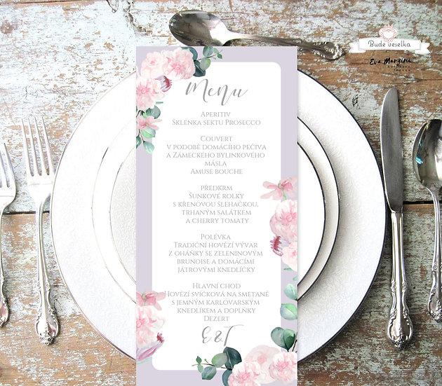Svatební menu Šípkové růže, lila a bílá, 99 mm x 210 mm tištěné