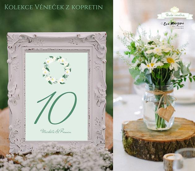 Čísla 1-10 na stoly Věneček z kopretin, v zelené