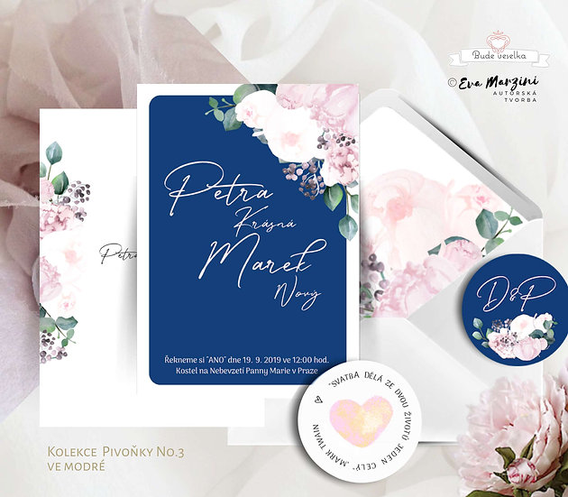 Svatební oznámení s pivoňkami v bílé, královské modré a pudrové barvě v kaligrafickém, boho, vintage a rustik stylu.