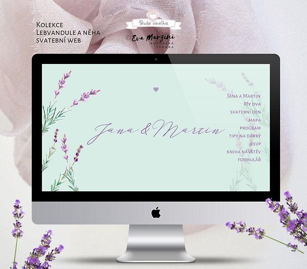 Svatební web  s Levandulí v mátové barvě a přírodním stylu, pro rustic svatby