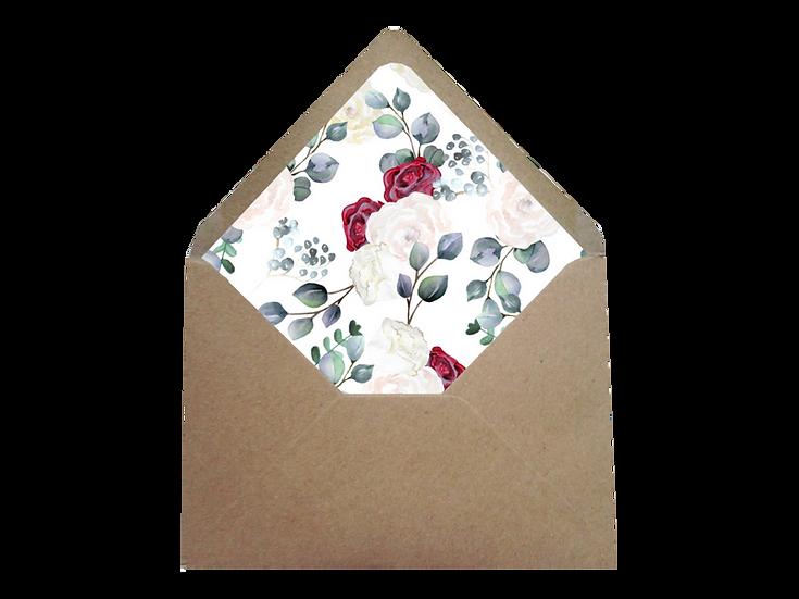 Obálka C6+ kraftová/písková- s vkladem Burgundy Grace Kelly, v bílé