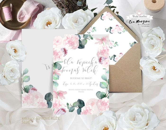 Svatební oznámení v bílé, šedé a pudrové s pudrovými růžovými květy s eucalyptem, boho vintage a rustic