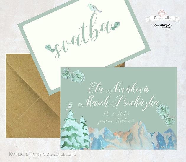 Svatební oznámení zimní zelené s motivem hor, lesa s ptáčkem, v rustikálním a vintage stylu