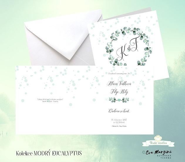 Otevírací svatební oznámení v bílé s věnečkem eucalyptu a nevěstiným závojem ve stylu vintage boho