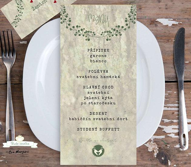 Svatební menu Z hájenky, mech 99x210 mm tištěné