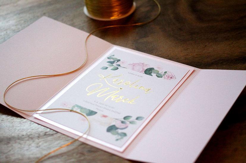 Klopa na svatební oznámení, světlá růžová 135x185 mm