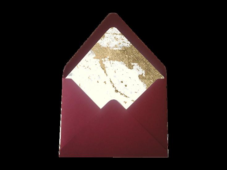 Obálka C6+ bordó/vínová - s vkladem Gliter Champagne, ivory