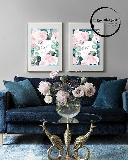 Obraz na památku Šípkové růže, tyrkysová na bílé
