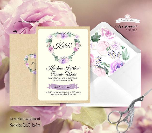 Svatební oznámení kraft ivory se srdcem z fuksiovými, růžovými a fialovými květy ve stylech boho vintage a rustic