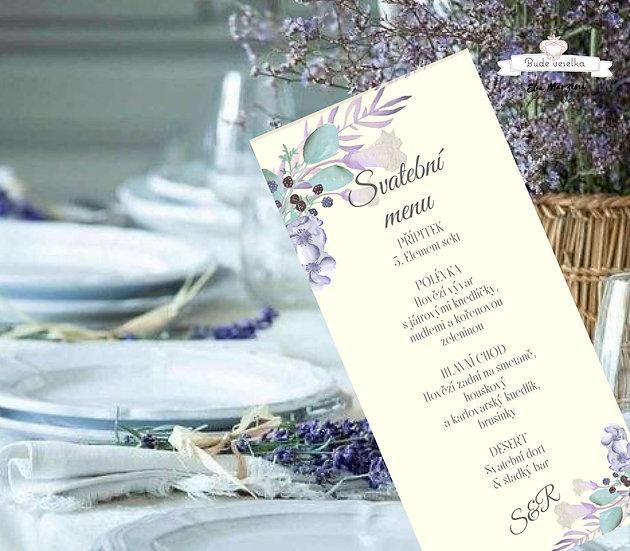 Svatební menu Boho lila plody, v ivory/lila, 99 mm x 210 mm tištěné