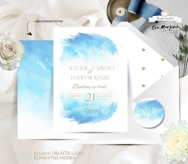Svatební oznámení s obláčkem blankytné, tištěné ve stylu vintage a kaligrafic