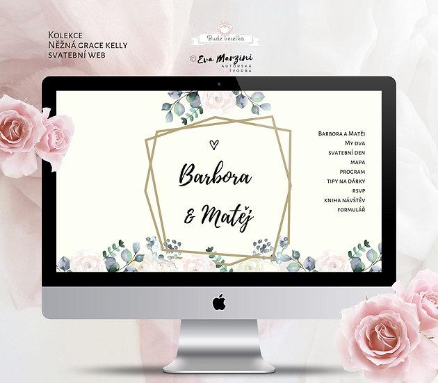 Svatební web Něžná Grace s geometrickými úhelníky, pivoňkami a růžmi v krémové pro vintage svatby.