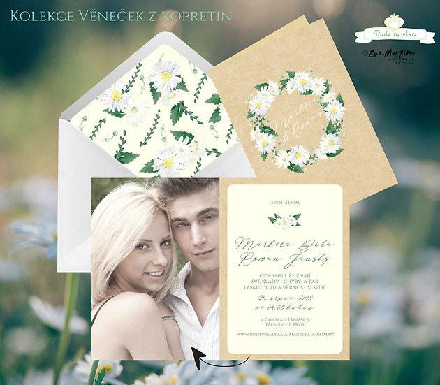 Svatební oznámení s fotkou přírodní kraft s věnečkem z kopretin a lístů ve stylech boho vintage a rustic