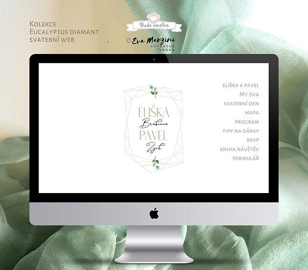 Svatební web Eucalyptus Diamant, bílá
