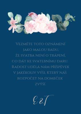 Kartička na dary ke stolu Šípkové růže - modré, 75x105 mm tiš