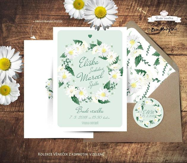Svatební oznámení Věneček z kopretin, v zelené - 120x170 - tištěné