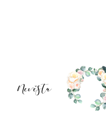 Jmenovky Meruňkové růže, v bílé  - 90x100mm tištěné