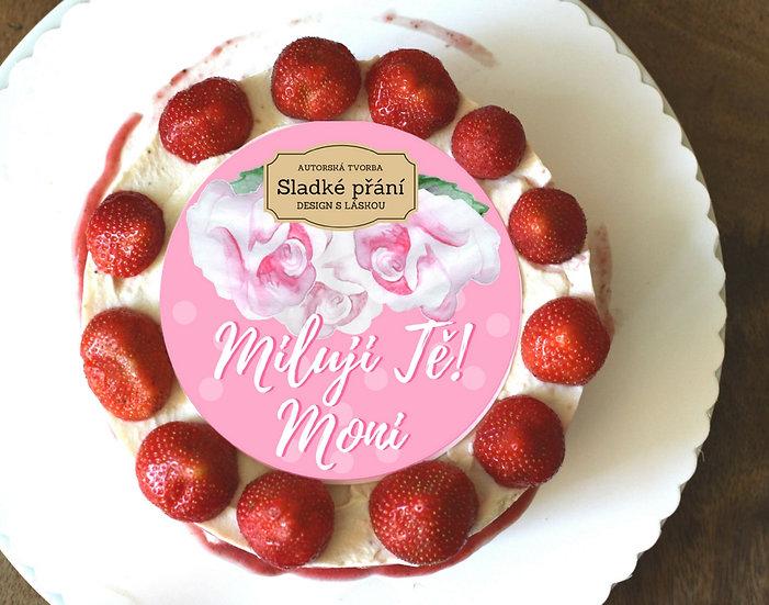 Jedlé blahopřání na dort - Růže retro dots, No.3
