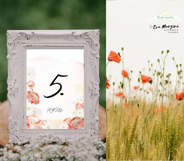 Čísla 1-10 na stoly Červená v polích, červánkové II.