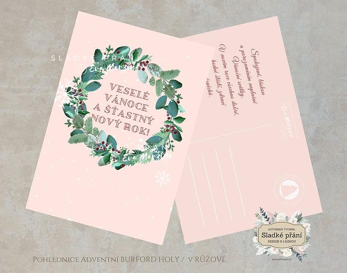 3ks Vánoční pohled Adventní Burford holy, v růžové - 120x170 - tištěné