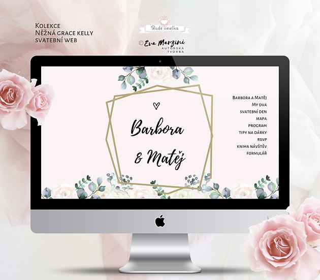 Svatební web Něžná Grace s geometrickými úhelníky, pivoňkami a růžmi v pudrové pro vintage svatby.