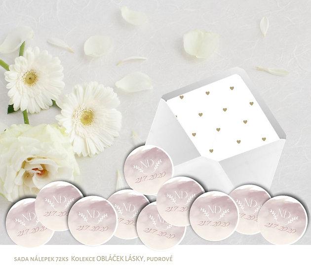 Kulaté nálepky Obláček lásky, růžová 72 ks /45 m