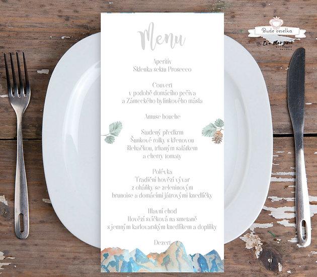 Svatební menu Hory v zimě, v bílé, 99 mm x 210 mm tištěné