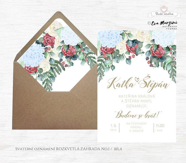 Svatební oznámení bílé s hortenziemi, vínovými a champaigne růžemi s eucalyptem ve stylech boho vintage a rustic