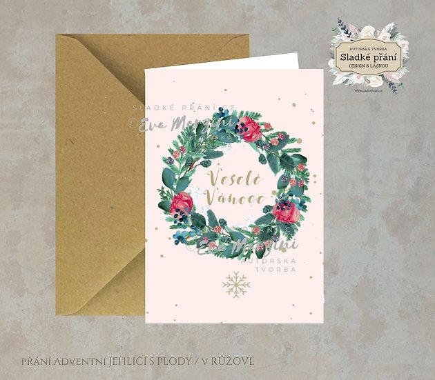 Vánoční přání Adventní Jehličí s plody, v růžové - 240x170 - tištěné