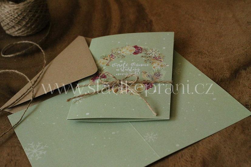 Vánoční přání Adventní Burgundy, v hráškové - 240x170 - tištěné
