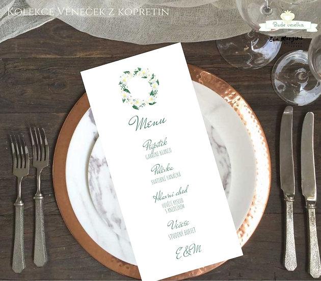 Svatební menu Věneček z kopretin, v bílé, 99 mm x 210 mm tištěné