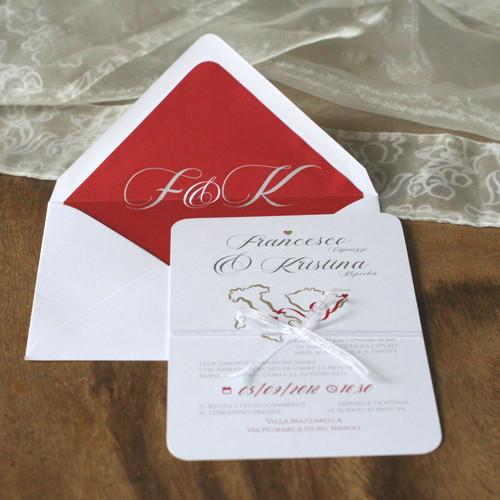 Svatební oznámení červené a bílé s mapou Itálie