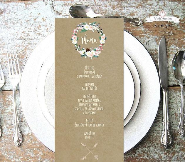 Svatební menu Boho věneček, v hnědé, 99 mm x 210 mm tištěné