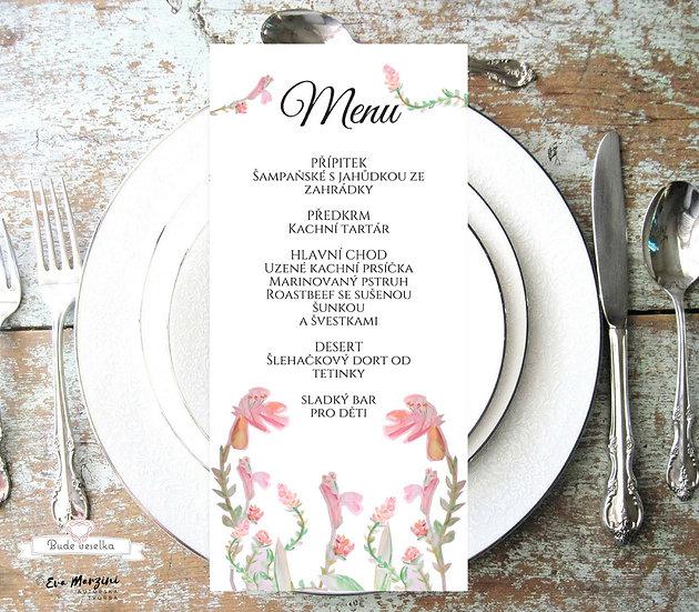 Svatební menu Mateřidouška 99x210 mm tištěné