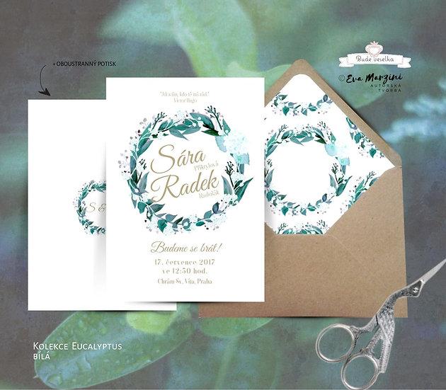 Svatební oznámení bílé na kraft se zeleným věnečkem eukalyptem