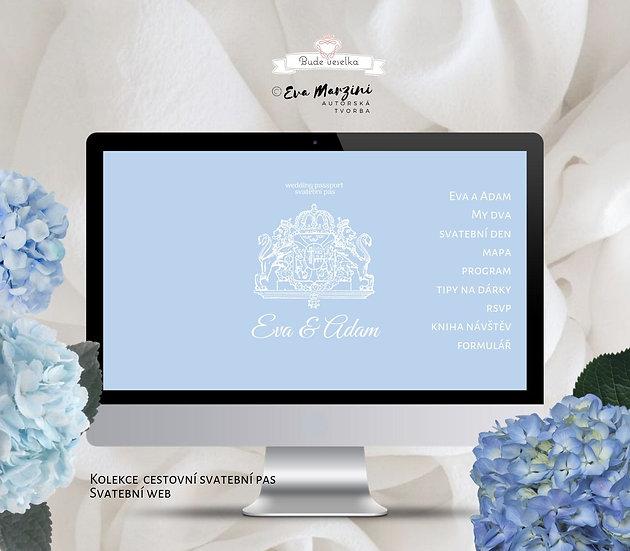 Svatební web Svatební pas, modrá