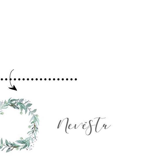Svatební jmenovky Lesněnka - bílé, 75x105 mm