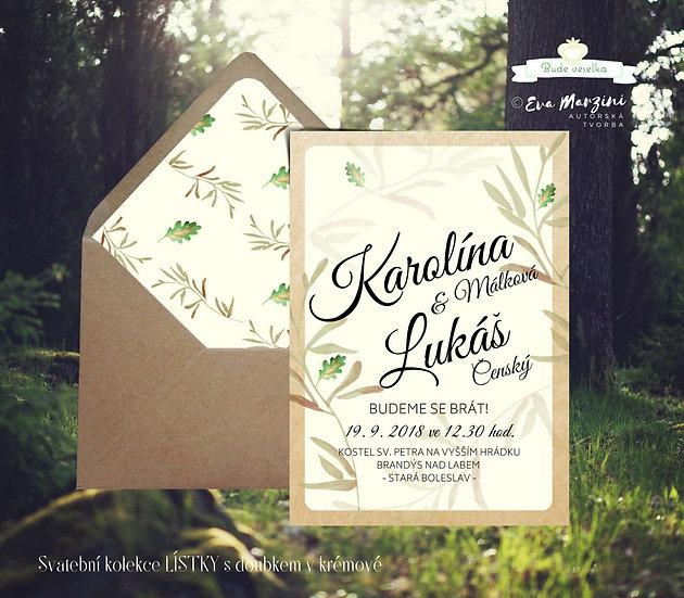 Svatební oznámení s béžovými lístky a zeleným doubkem se zlacením na ivory pozadí v boho vintage a rustic greenery stylech