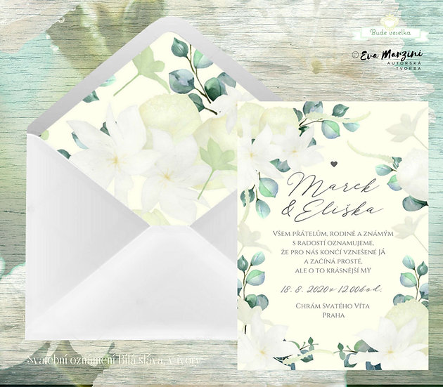 Svatební oznámení v ivory s květy bílými a béžovými a lístky eukalyptu, rustik, vintage a boho stylech