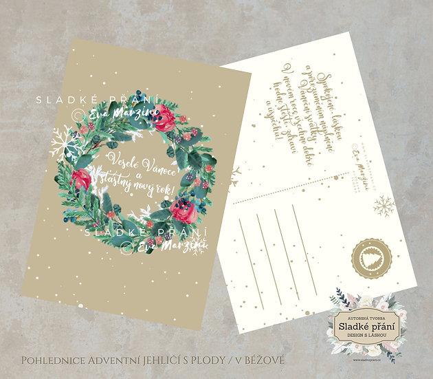 3ks Vánoční pohled Adventní Jehličí s plody, v zlaté - 120x170 - tištěné