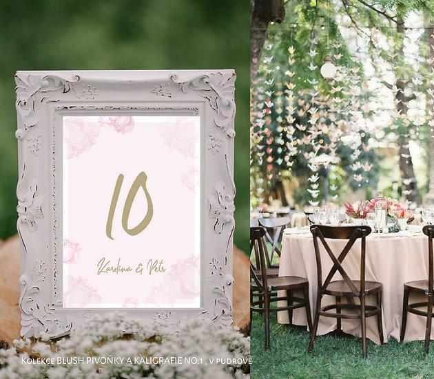 Čísla 1-10 na stoly Blush kaligrafie, pudrové