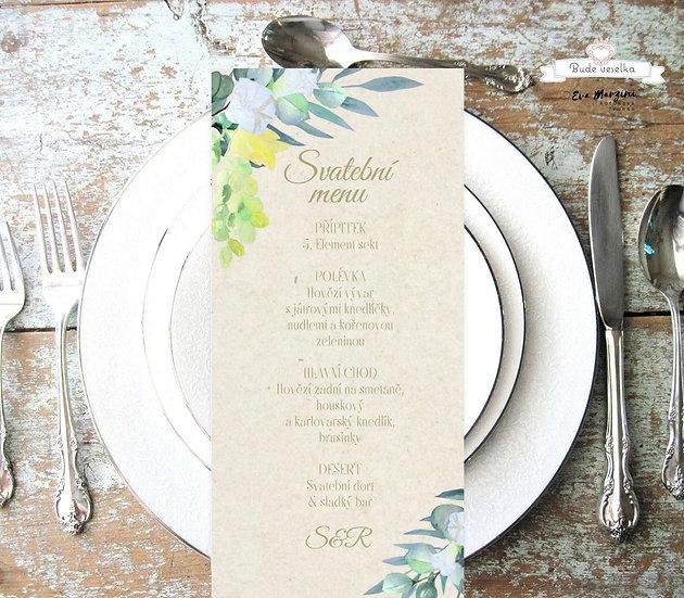 Svatební menu Réva a eucalyptus, juta, 99 mm x 210 mm tištěné