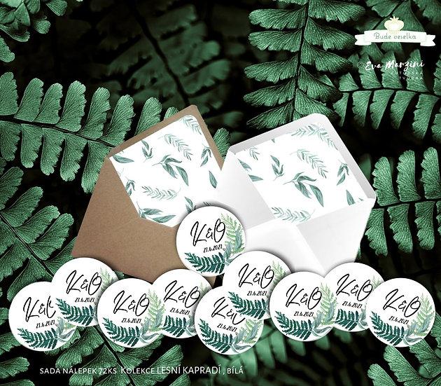 Kulaté nálepky Lesní kapradí, bílá 72 ks /45 m