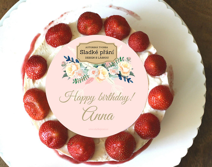 Jedlé blahopřání na dort - Boho růže, No.2