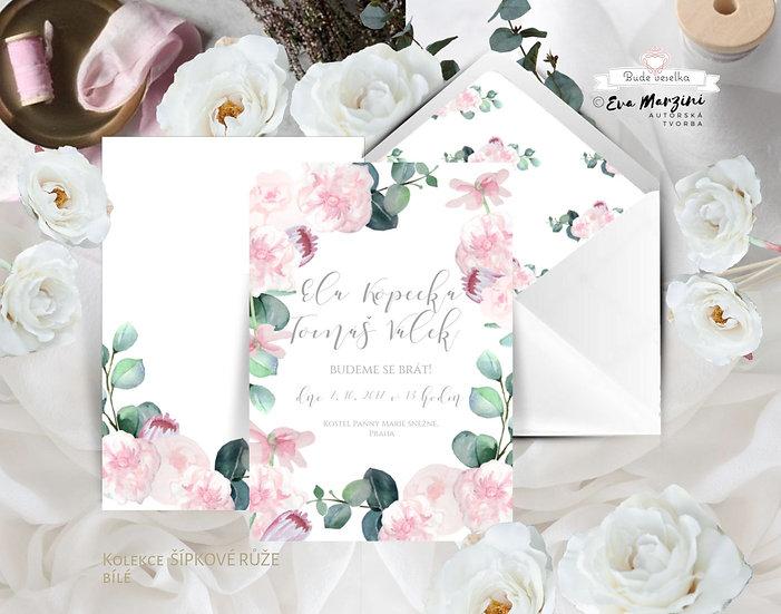 Svatební oznámení v bílé, přírodní kraft a pudrové s pudrovými růžovými květy s eucalyptem, boho vintage a rustic