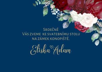 Svatební pozvánky Burgundy Polka No4. - modré, 75x105 mm