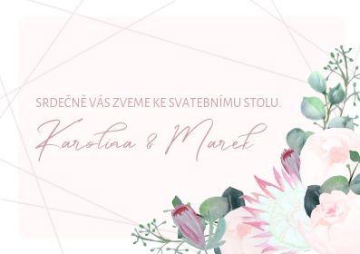 Svatební pozvánky ke stolu Pivoňky Blush - pudrové, 90x50/100mm tištěné