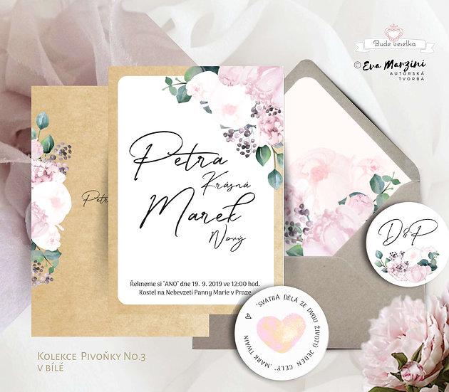 Svatební oznámení Pivoňky No.3, v přírodní bílé a pudrové barvě v kaligrafickém, boho, vintage a rustik stylu.