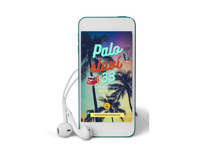 animovaná pozvánka do mobilu s palmami pro surfaře